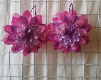 Purple and pink Dahlia flower petal earrings on purple hoop
