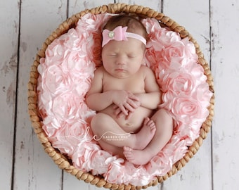 Pink Felt Bow Headband on 3/8 inch elastic with a pearl button for newborns, photo shoots, birthdays, everyday wear by Lil Miss Sweet Pea