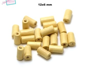 """100 raw wood beads """"12 x 6 mm tube"""", painted beige"""
