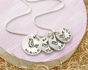 Mothers Necklace / Mother Necklace / Mama Bird Necklace / Sterling Silver / Mama and Baby Bird Necklace / UK Seller / Family Necklace
