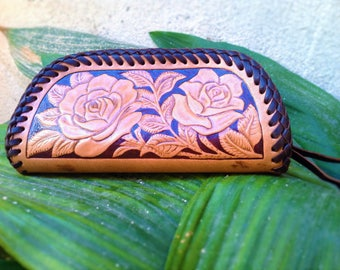 Leather gusset / case / pouch carved with a Rose design laced with double loop stitch suitable for pencils, glasses, cash, make up,