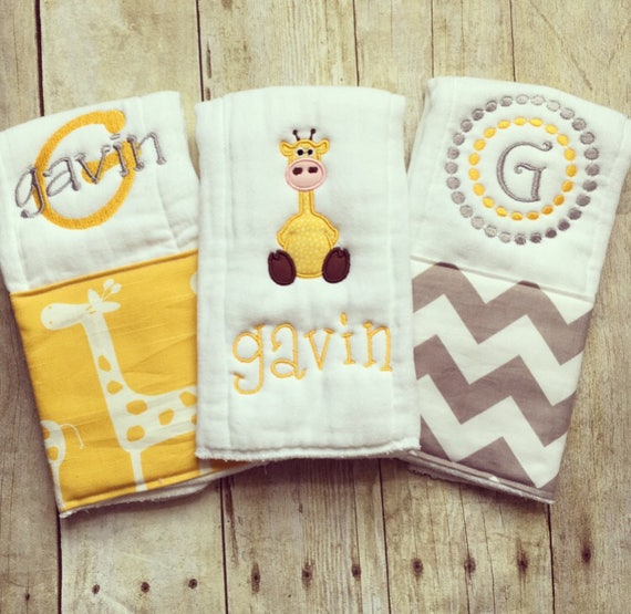 Personalized baby boy burp cloths safari giraffe baby gift like this item negle Images