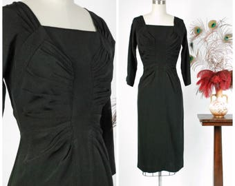 Vintage 1950s Dress - Gorgeous Unlabeled Possible Dorothy O'Hara 50s Dress with Radiating Pleating from Incredible Collection