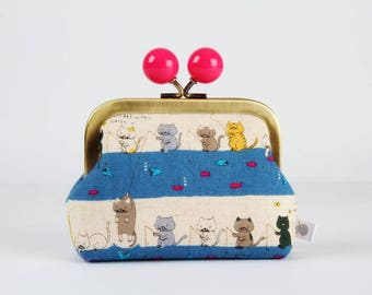 Metal frame coin purse with color bobble - Fishing cats - Color dad / Kawaii japanese fabric / Hot pink blue grey / Cute kitties / fish