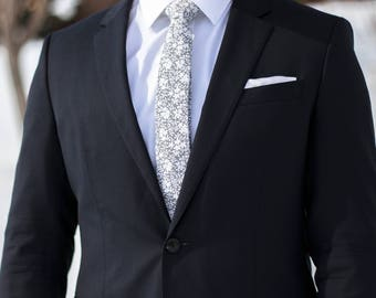 Grey with White Floral Print Skinny Tie