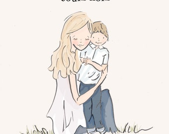 Mother and Son Wall Art -Mom and Son Digital Art Print - Sisters -  Children's Wall Art -- Print