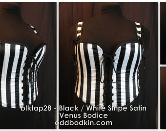 Odd Bodkin Venus Bodice in Black White Stripe Satin - Made to Order - blktap28