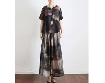 Womens Summer Retro Loose Fitting Linen Blouses And Loose Pants Two Pieces Set, Womans Summer Tops, Casual Tops,Summer Blouses,Casual Pants