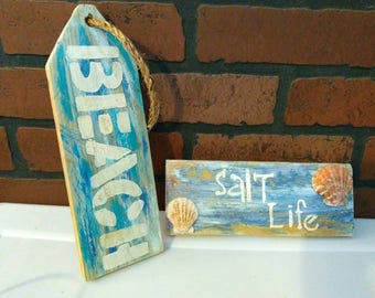 Up cycled Pallet wood  painted beach decor