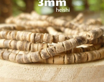 "3mm 23"" Strand Natural Eco Friendly Coconut Shell Heishi Barrel Beads Boho Wrap Ladder Bracelet Supplies"