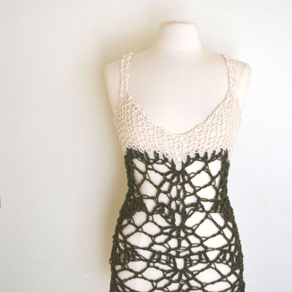 Knit and Crochet Tank Top Pattern Boho Hippie Mesh Lace Halter Top ...