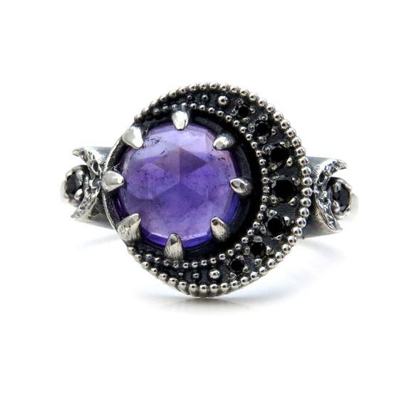 Amethyst Crescent Moon Ring - Sterling Silver Moon Phase Engagement Ring - Black Diamond or Moissanite Crescent