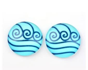 10/20 Blue Ocean Wave of Life Glass Photo Cabochon 12mm Round