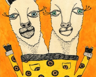 The Llama Sisters - Original Art on Wood (5 x 7)