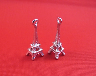 3 charm 24x8mm Eiffel Tower charm pendants