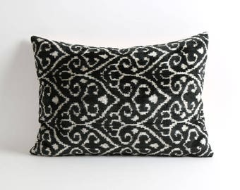 ikat velvet pillow, black ikat pillow, handwoven ikat pillow cover, black decorative pillows, black pillow, home decor, black & white pillow