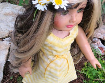 "18"" Doll Summer Maxi Dress A Line Fits American Girl Dolls Yellow, white"