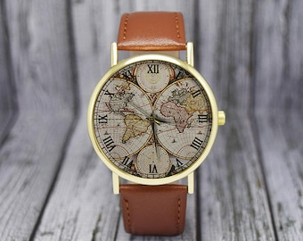 Vintage World Map Watch | Retro | Classic Style | Leather Watch | Ladies Watch | Men's Watch | Birthday | Wedding | Gift Ideas | Travel Gift