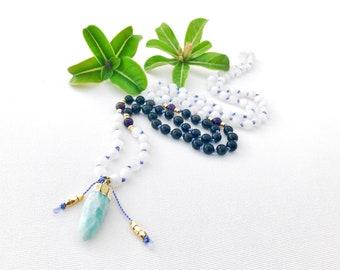 Mala Necklace, Mala Beads, Moonstone Mala Beads, Knotted Mala Necklace, Amazonite Mala, Obsidian Amethyst Mala Beads Necklace, Prayer Beads