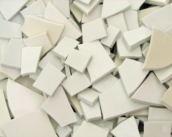 Mosaic Tiles Shades of White 4 Pounds of China Filler China Tiles All Sizes Mostly Large