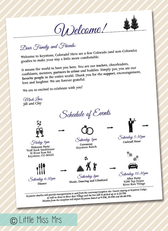 printable wedding welcome letter timeline of events