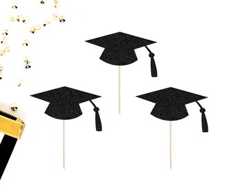 Graduation Cupcake Toppers (Set of 12) | Graduation Cap Toppers | Congradulations | Graduation Party Decor | Glitter Grad Cap Toppers | 2018