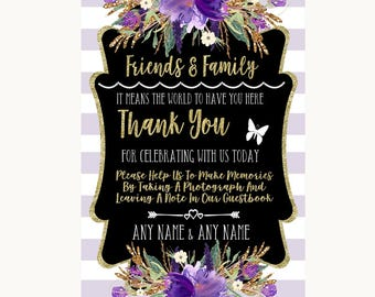Gold & Purple Stripes Photo Guestbook Friends and Family Personalised Wedding Sign