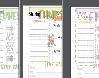 FLORAL Theme, Planner Pages M-F