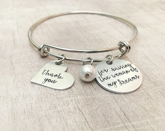 Mother of the Bride Gift from Groom - Thank you for Raising the Woman of my Dreams - Mother of the Bride Gift - Hand Stamped Bangle