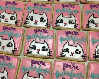 You're purrrfect kitten valentines cookies