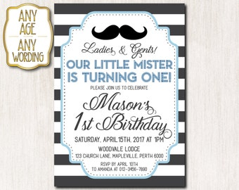 1st Birthday Little mister invitation, First Birthday Invitation, Mustache Birthday invitation, Boy First Birthday, ANY AGE - 1613