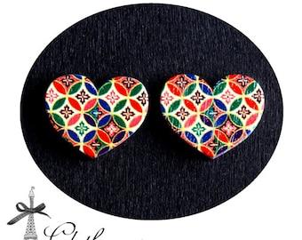 50% off-  Heart Handmade Photo Wood Cut Cabochon  (WAH-35)-(Back White)