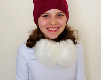 Hand knitted girls hat, 100% cotton