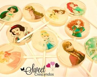 Princess Lollipops- Lollipops- Bridal Shower Favors- Wedding Favors- Hard Candy Lollipops- Princess Party Favors- Personalized Favors