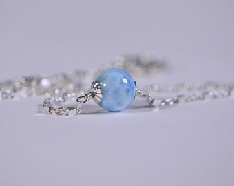 Larimar Necklace Silver Choker Larimar Single Bead On Sterling Silver Chain Simple Silver Choker, thin choker For Mom