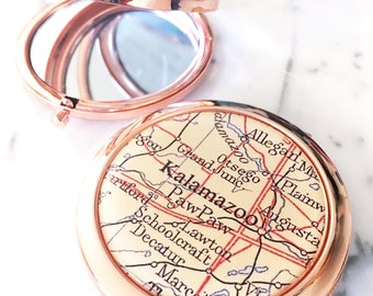 Kalamazoo Map Mirror Compact - Kalamazoo Compact Mirror - Makeup Mirror - Purse Mirror - Bridesmaid Proposal - Michigan Mirror - Paw Paw