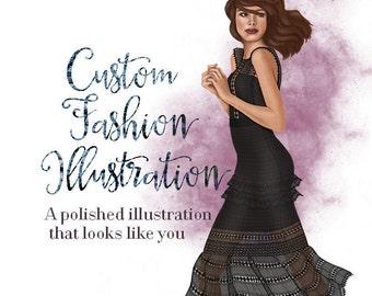 Custom fashion illustration - Personalized portrait - Custom illustration - Gift for her