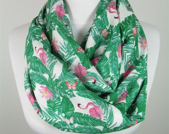 Mothers Day Gift For Her Pink Flamingo Scarf Bird Infinity Scarf Animal Scarf Greenery Scarf Spring Fall Accessories   For Mom