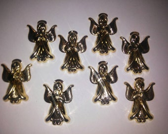 8 Goldplated Angel Stampings Charms