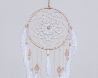 Large Beige Dream Catcher, White feathers Dreamcatcher, boho dreamcatchers, wedding decor, sweet dreams, wall hanging, wall decor, handmade