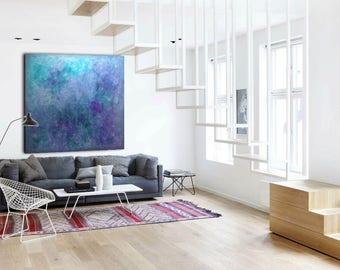 Abstract Painting Custom UnStretched Painting XLarge Canvas Art Blue Abstract Art Textutred Oil Painting Minimalist Art Teal Abstract
