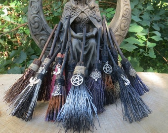 MINI Witches Car Charm/ Altar  Broom, Travel Protection Charm For Rear View Mirror, Tiny Broom, Witchcraft Wicca, Miniature Broom