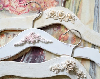 Wedding Dress Hangers Set Of 3, Bridal Bridesmaid Dress Hanger, Wedding Hand Painted Hanger, Shabby Chic Party Hanger, Wedding Accessories