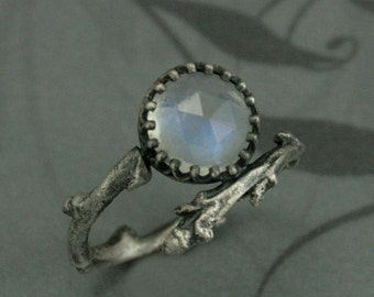 The Elsa Ring--Sterling Silver Branch Ring set with Rose Cut Rainbow Moonstone--Frozen Inspired Jewelry--Crown and Twig Ring--Cocktail Ring