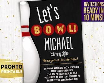 Bowling Party Invitations, Bowling Party Invitation Printable, Bowling Party Invitation Instant Download, Bowling Birthday Invitations