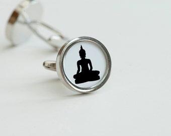 Buddha Cufflinks - Meditation cufflinks, Men's Cufflinks,  Husband, Wedding gift, Novelty cufflinks for him, Yoga