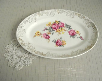 Cottage Chic Platter , Royal Harvey Staffordshire England , Roses with 22 KT Gold Plate , Vintage Wall Plate Decor