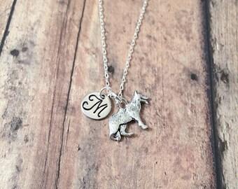 German shepherd initial necklace - German Shepherd jewelry, GSD necklace, police dog necklace, GSD jewelry, K9 necklace, police dog jewelry
