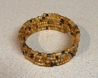 Amber gold brown bead memory wire bracelet