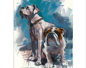 Dog Art - Matted Print of Original Custom Oil Painting - Dog Art, Bulldogs, Puppy, Dogs, Black Lab, Puppy, Animal Lovers,  Wall Art